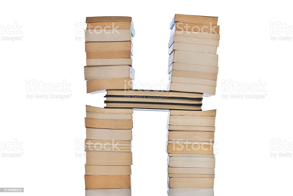 Letter H With Books stock photo