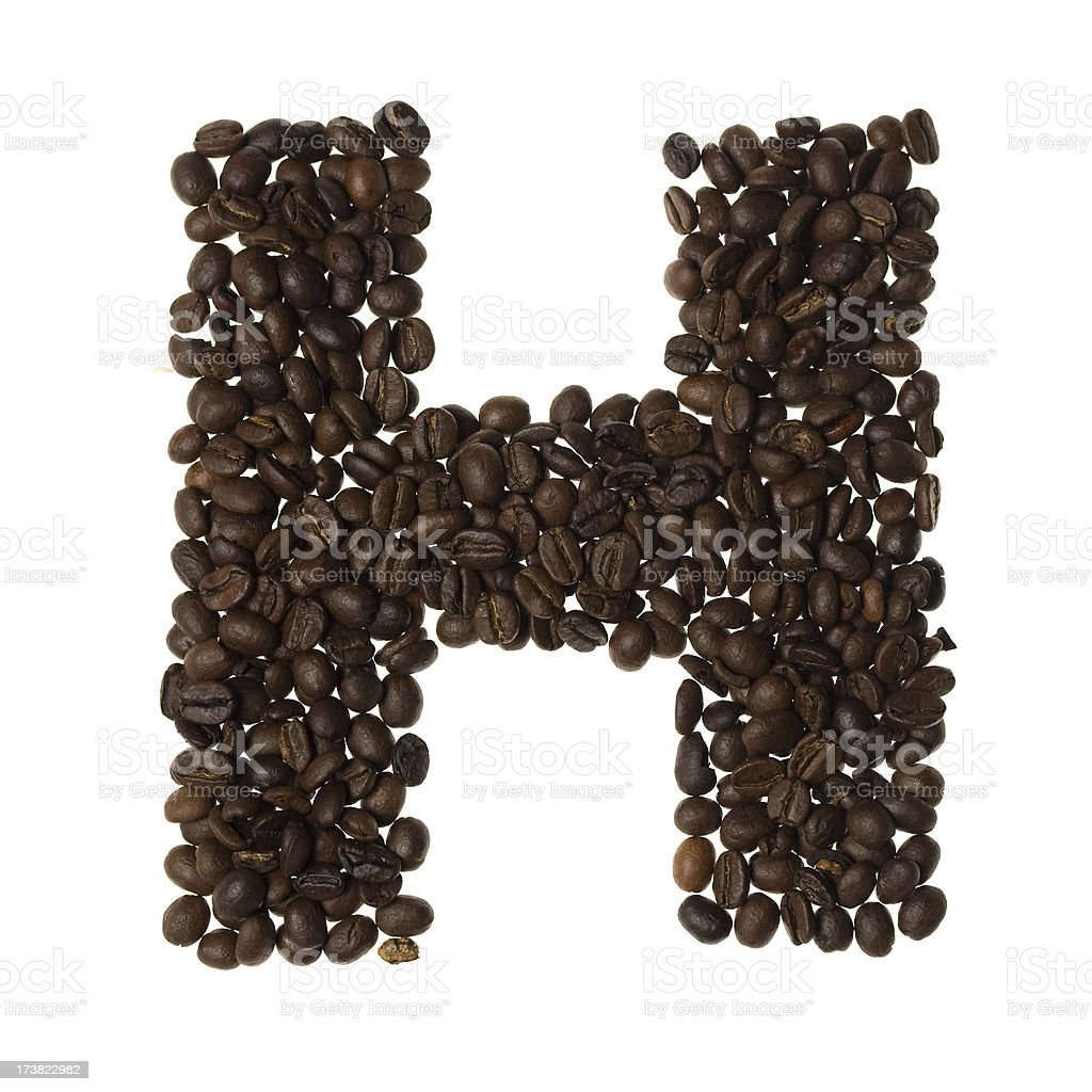 Letter H written with coffee royalty-free stock photo