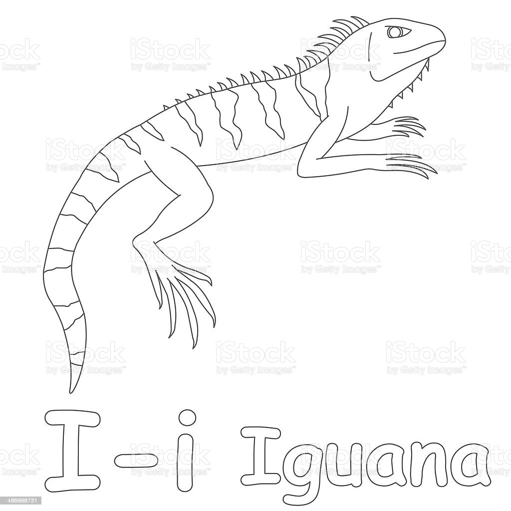 Letter I For Iguana Coloring Page Stock Photo & More Pictures of ...