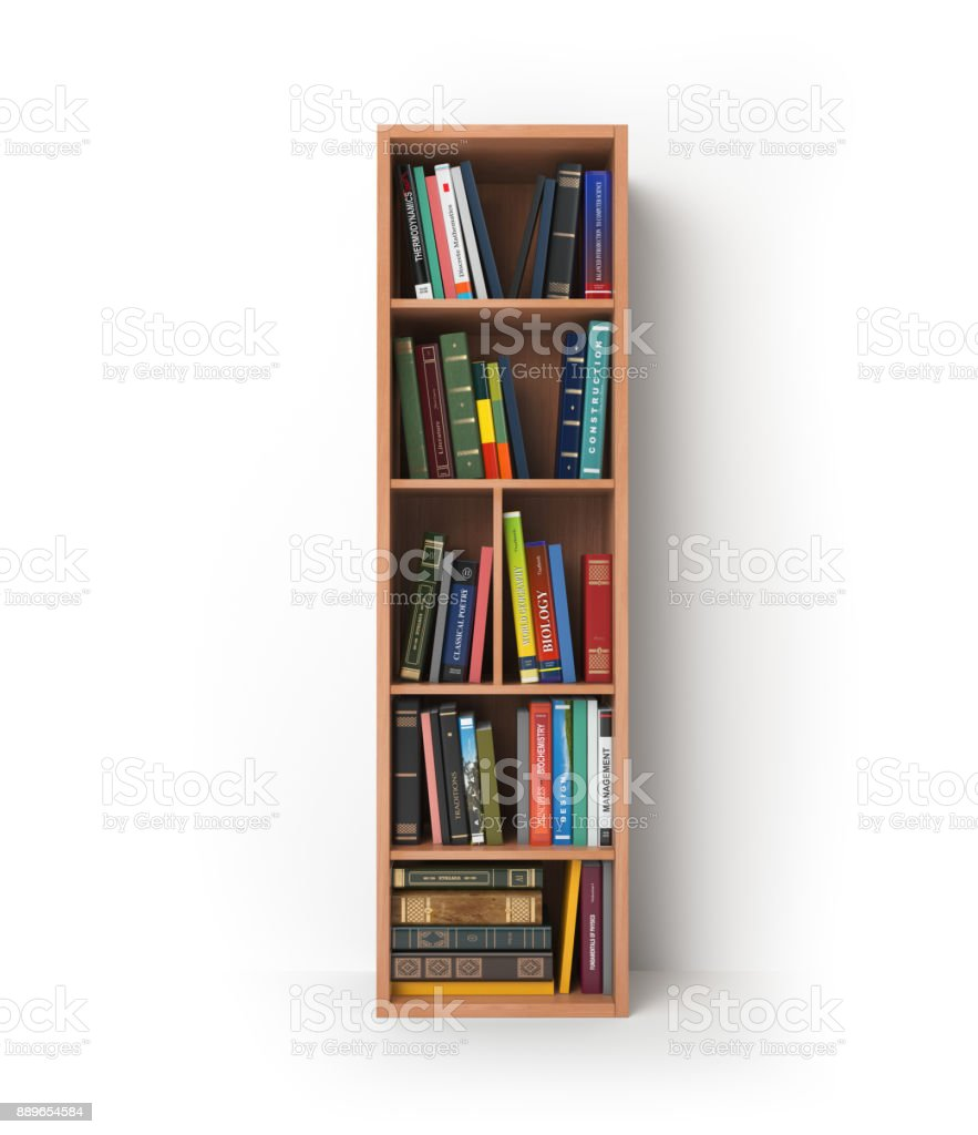 Letter I in the form of shelves with books isolated on white. stock photo