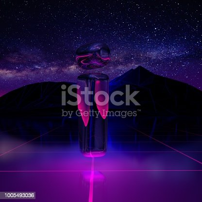 istock Letter I lowercase. 3D render font on retro background futuristic landscape 1980s style. 1005493036