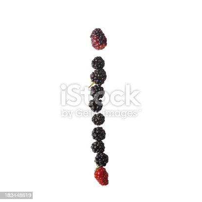 683035640 istock photo Letter I made up of blackberries 183448619