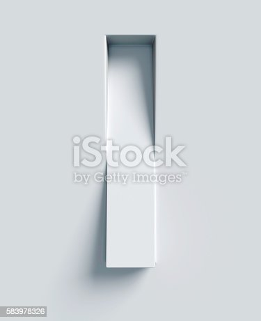 istock Letter I slanted 3d font engraved and extruded from surface 583978326