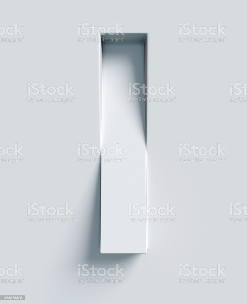 Letter I slanted 3d font engraved and extruded from surface stock photo