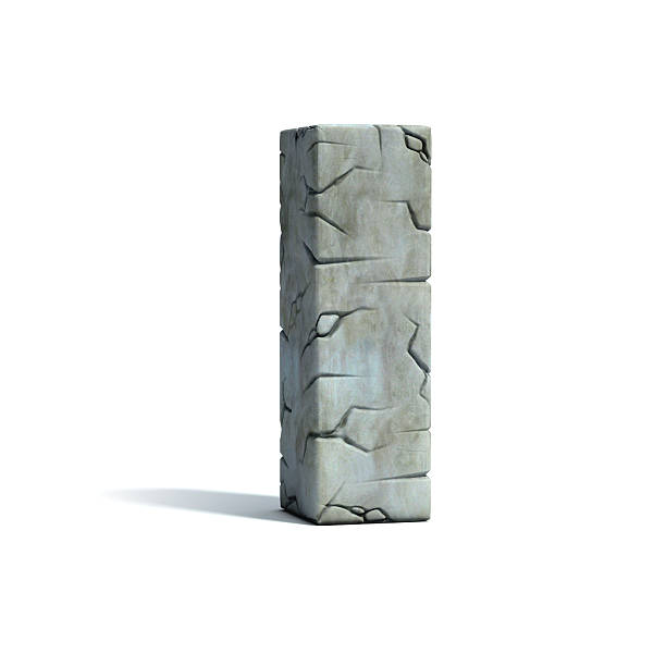 letter i stone 3d font - stone font stock photos and pictures