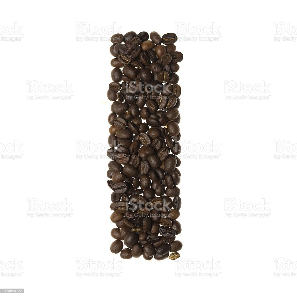 Letter I written with coffee royalty-free stock photo