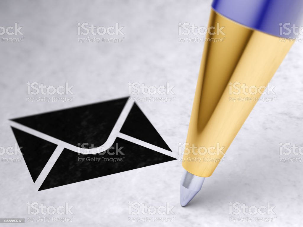 Letter icon on the page. stock photo