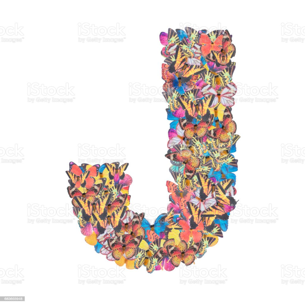 Letter J alphabet with butterfly ABC concept type as logo isolated on white background stock photo