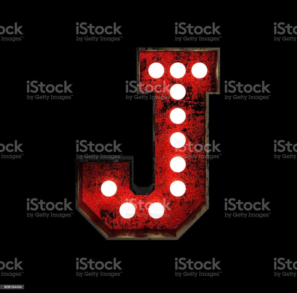 Letter J. Broadway Style Light Bulb Font stock photo