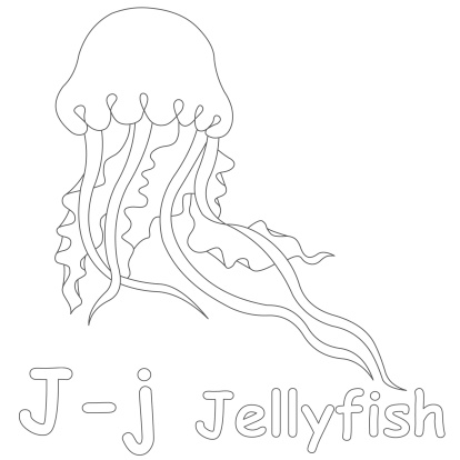 Letter J For Jellyfish Coloring Page Stock Photo Download Image Now Istock
