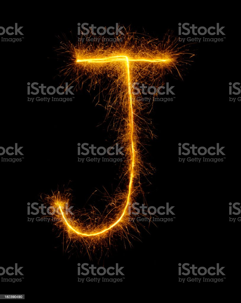 Letter J in Fireworks royalty-free stock photo