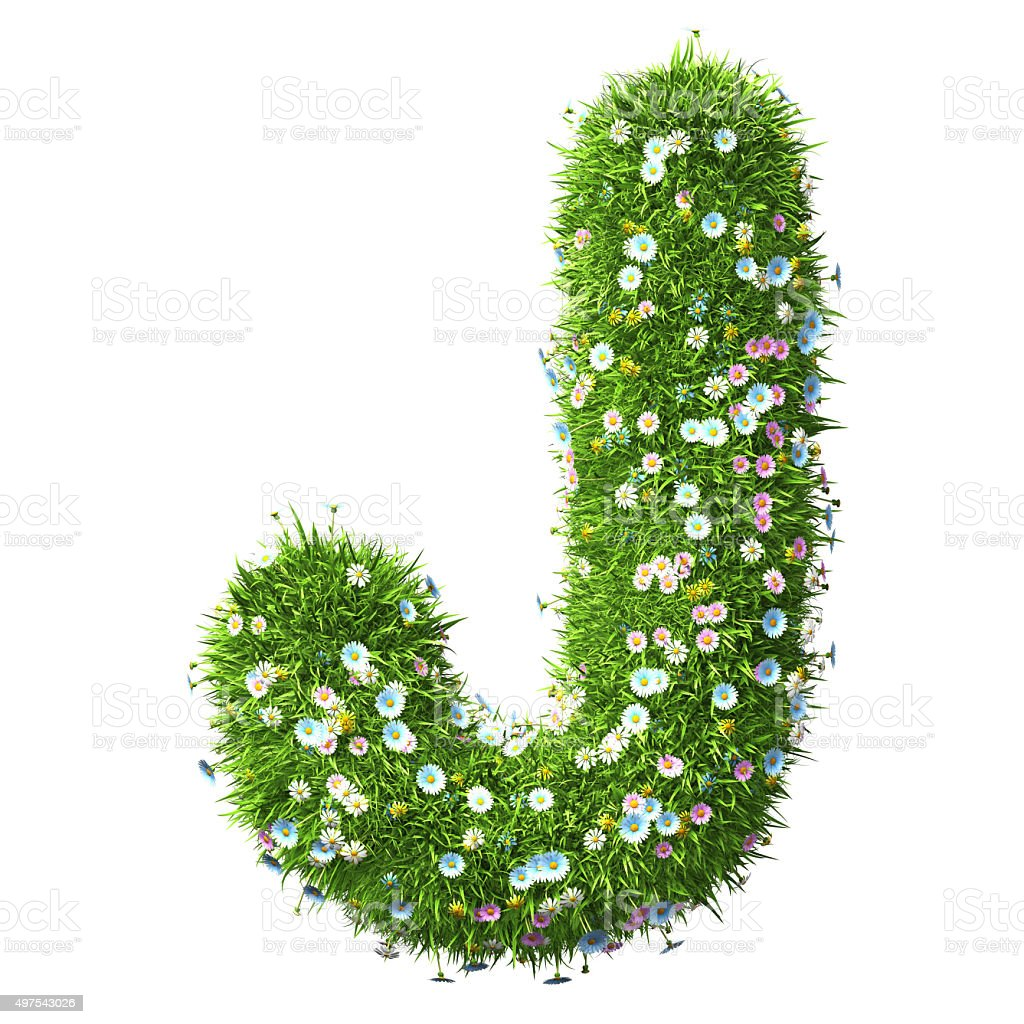 Letter J Of Grass And Flowers stock photo