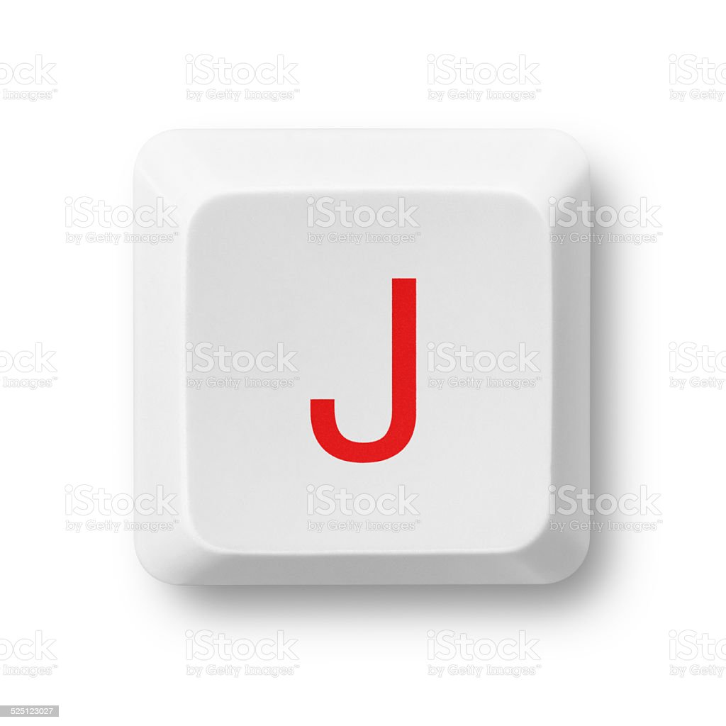 Letter J on a computer key isolated on white stock photo