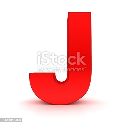 istock letter J red 3d render alphabet capital text font sign on white background 1184853409