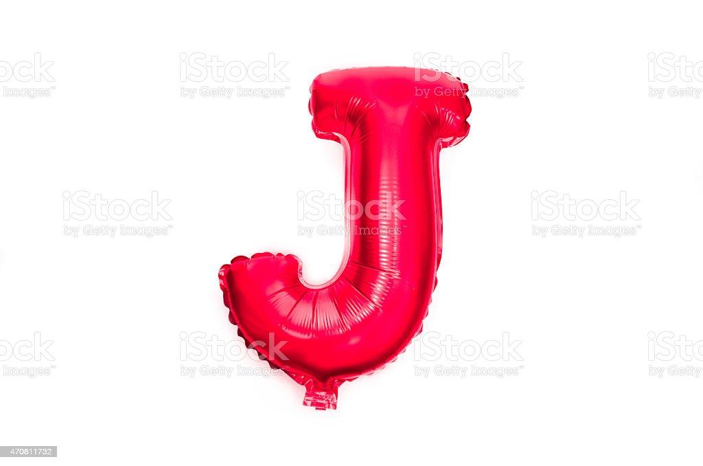 Letter J - red foil balloon alphabet stock photo