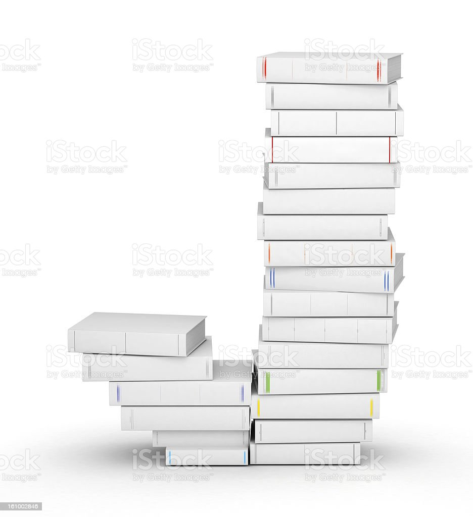 Letter J, stacked from blank books stock photo