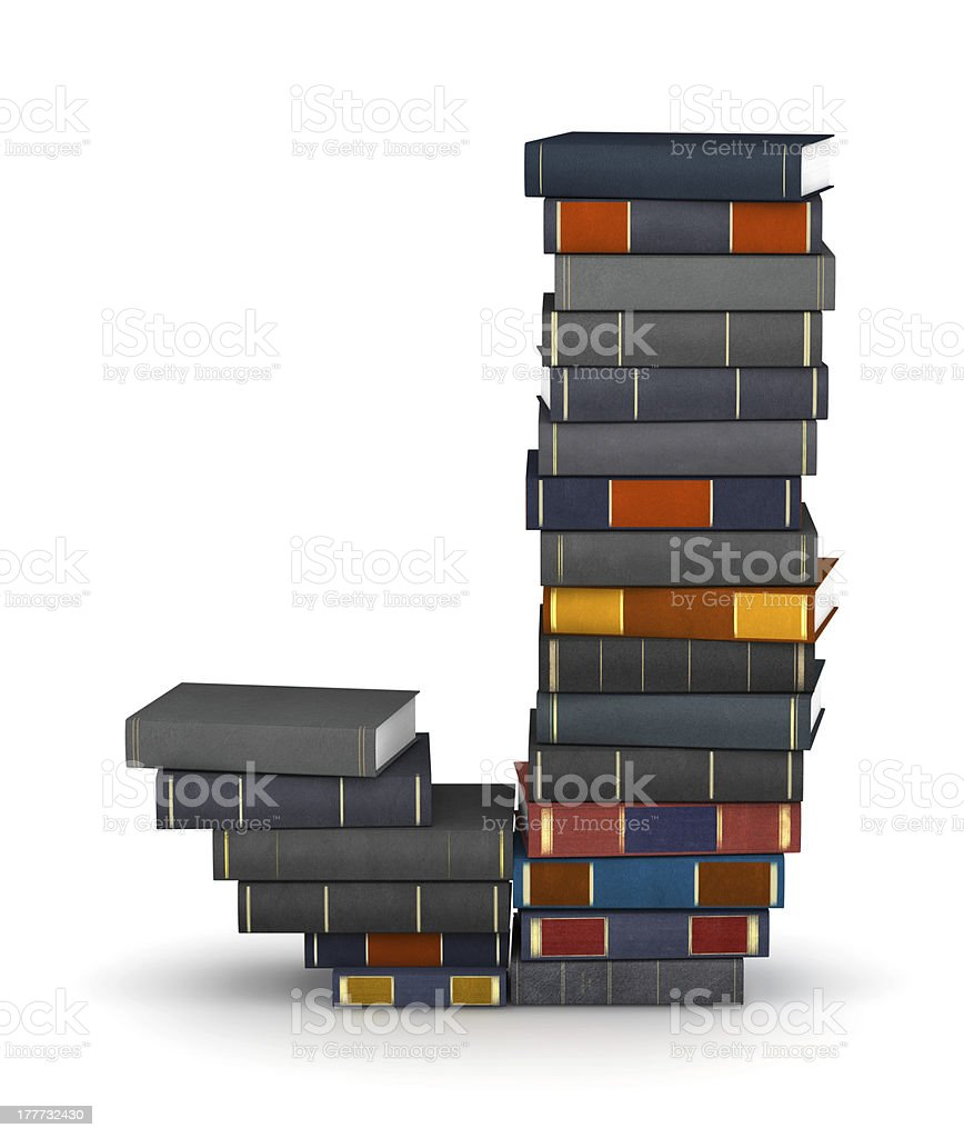 Letter J, stacked from books royalty-free stock photo