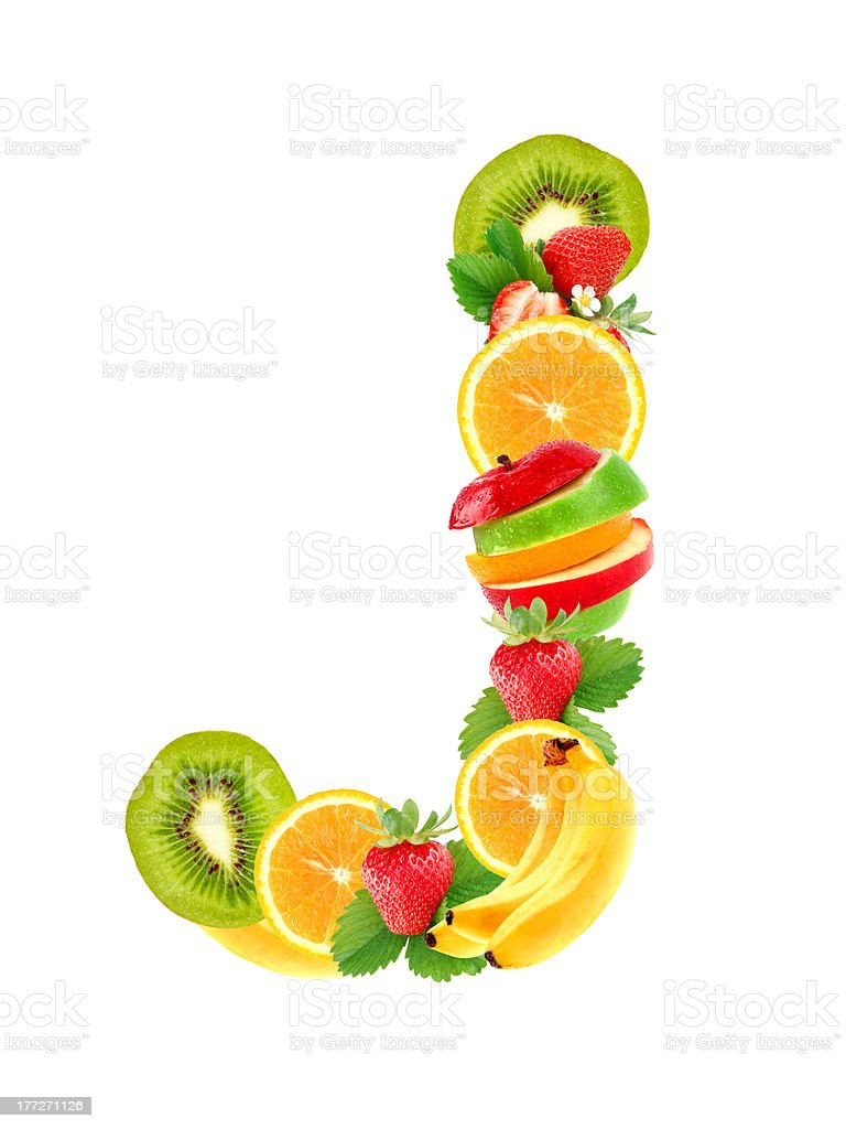 Letter J with fruit royalty-free stock photo