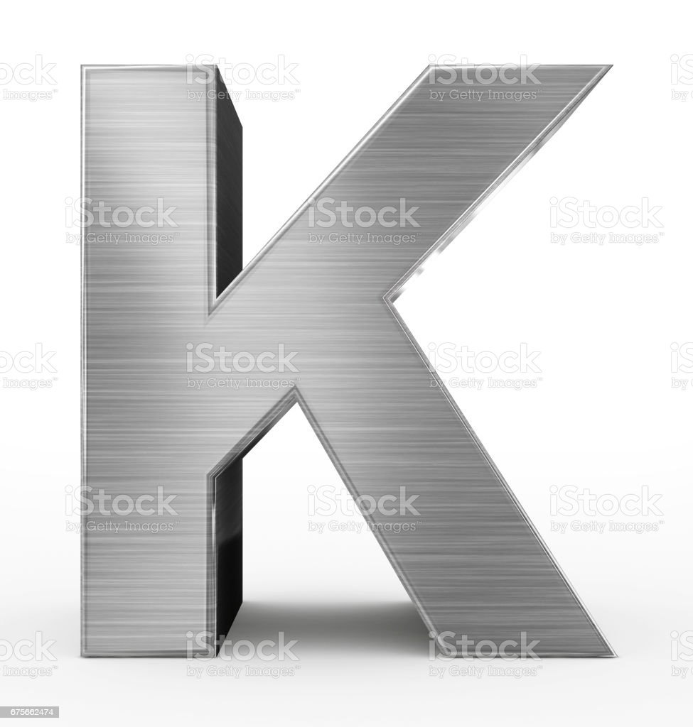 letter K 3d metal isolated on white stock photo