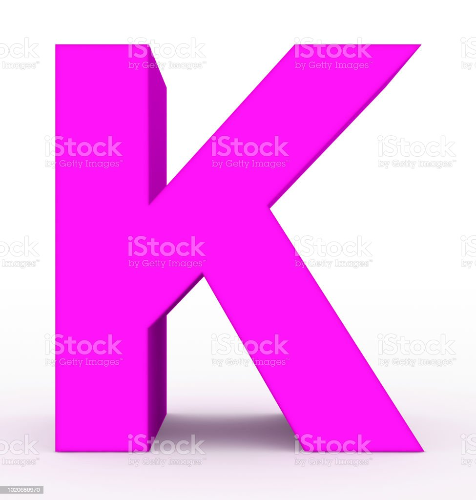Letter K 3d Purple Isolated On White Stock Photo & More Pictures of ...