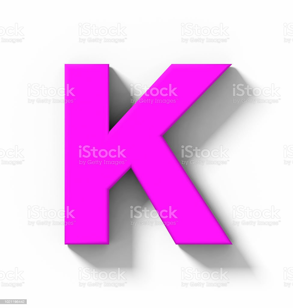 Letter K 3d Purple Isolated On White With Shadow Orthogonal ...