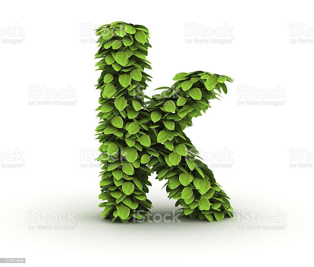 Letter k, alphabet of green leaves royalty-free stock photo