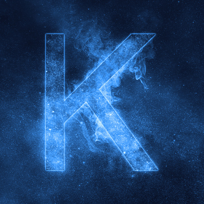 Letter K Alphabet Symbol Space Letter Night Sky Letter Stock Photo - Download Image Now