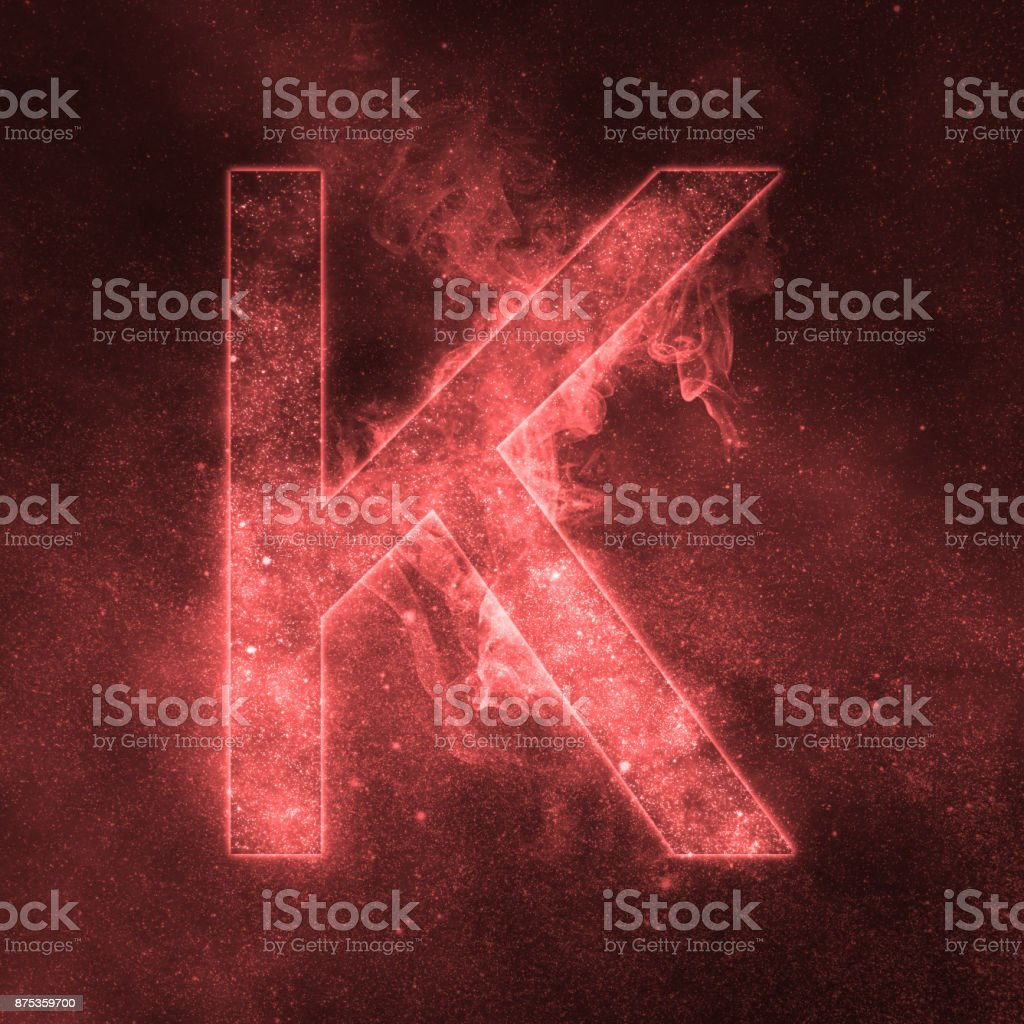 Letter K alphabet symbol. Space Letter, Night Sky Letter. Letter K alphabet symbol. Space Letter, Night Sky Letter. Abstract Stock Photo