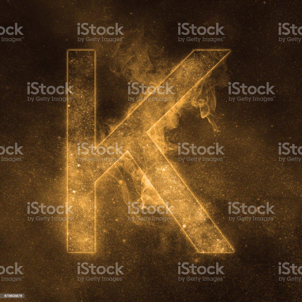 Letter K alphabet symbol. Space Letter, Night Sky Letter. Letter K alphabet symbol. Space Letter, Night Sky Letter. Abstract Stock Photo