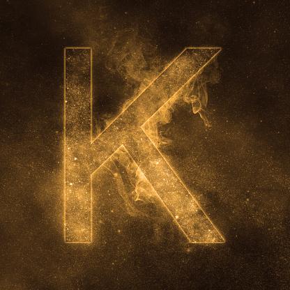 Letter K Alphabet Symbol Space Letter Night Sky Letter Stock Photo - Download Image Now