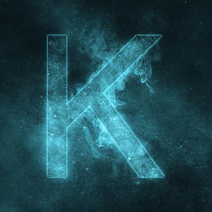 Letter K Alphabet Symbol Space Letter Night Sky Letter — стоковые фотографии и другие картинки Абстрактный