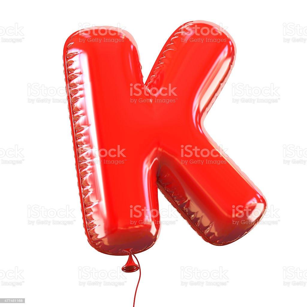 Letter K balloon font stock photo