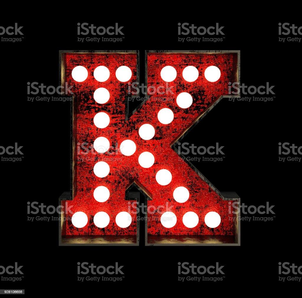 Letter K. Broadway Style Light Bulb Font stock photo