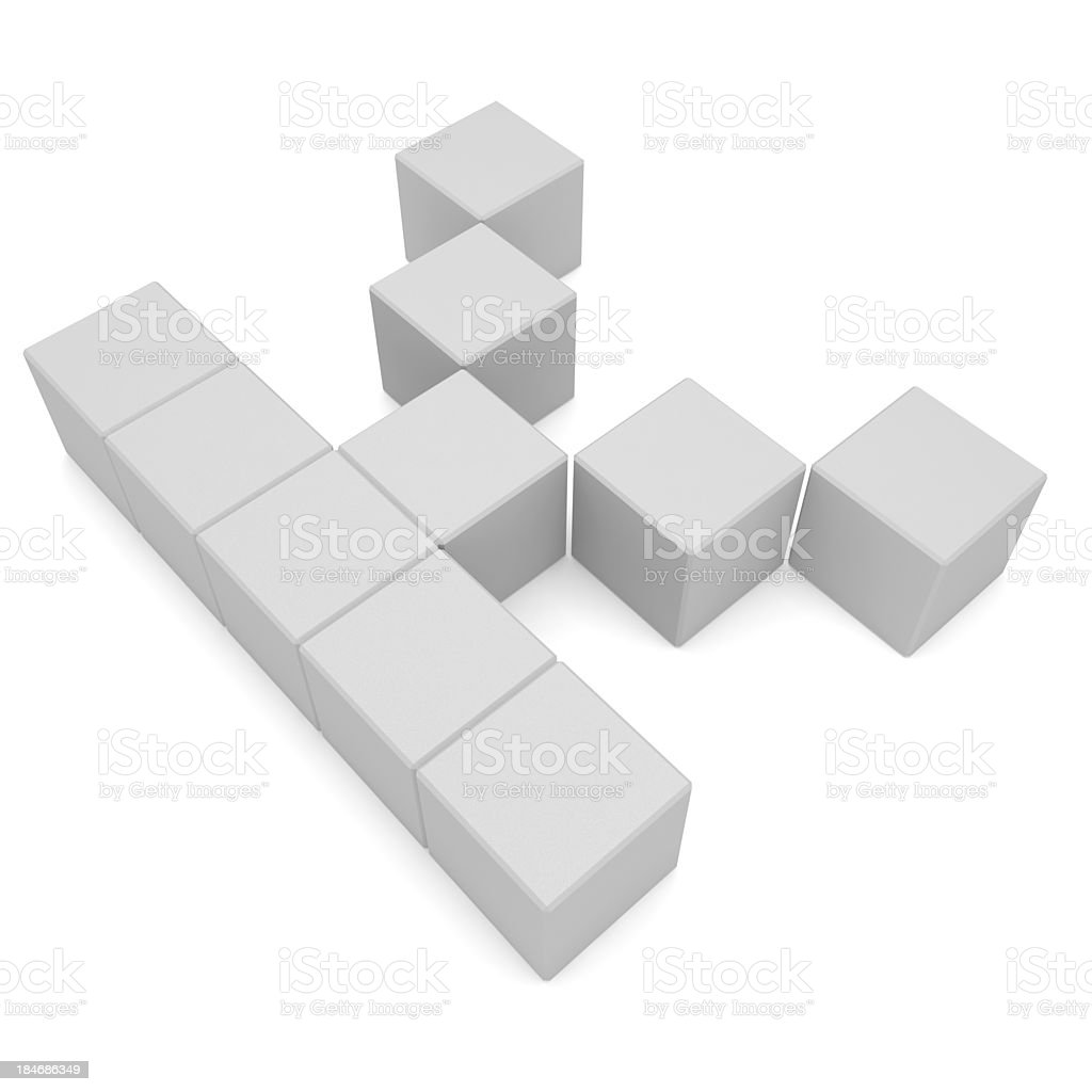 letter K cubic white royalty-free stock photo