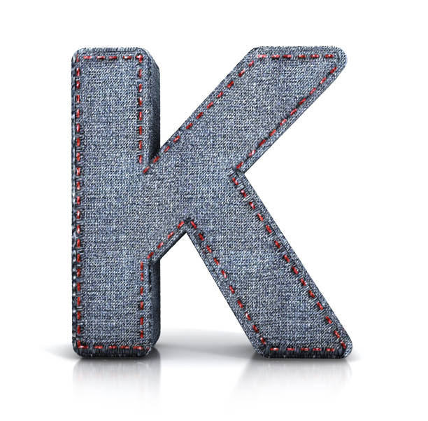 Letter K, Denim (Jeans) fabric Font. Letter K, Denim (Jeans) fabric Font. 3d illustration isolated on white. background. k icon stock pictures, royalty-free photos & images