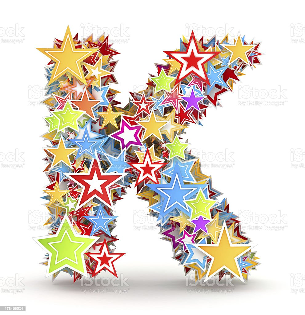 Letter K from colored stars royalty-free stock photo