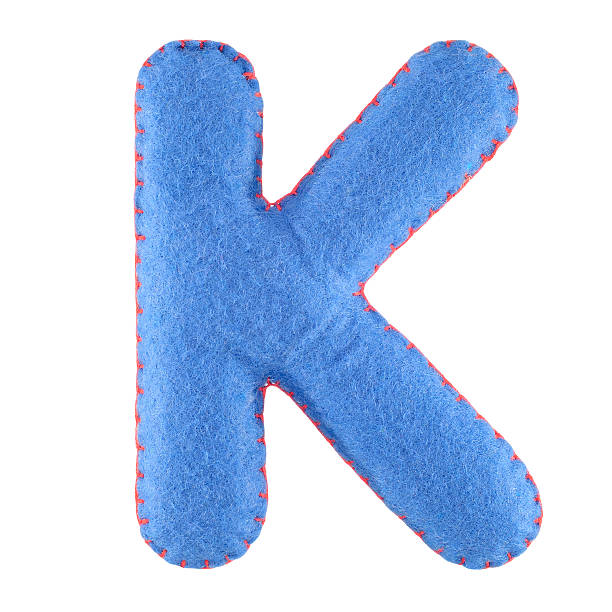 Letter K from felt K- letter from blue felt. Collection of colorful handmade English alphabet isolate on white background k icon stock pictures, royalty-free photos & images