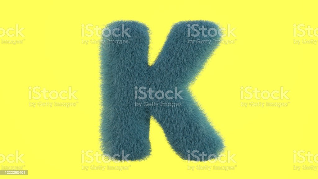 Letter K from fur alphabet Uppercase fluffy and furry font made of fur texture for poster printing, branding, advertising. 3D rendering Abstract Stock Photo