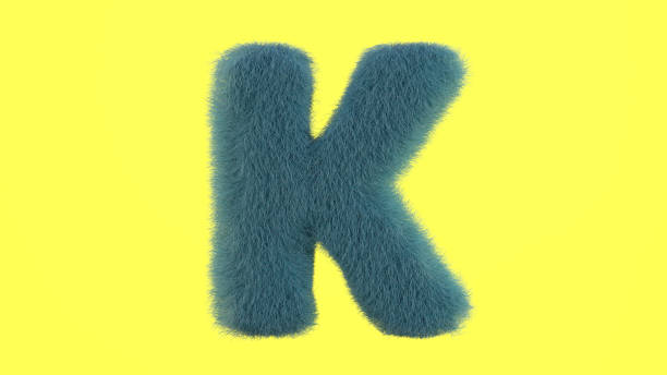 Letter K from fur alphabet Uppercase fluffy and furry font made of fur texture for poster printing, branding, advertising. 3D rendering k logo stock pictures, royalty-free photos & images