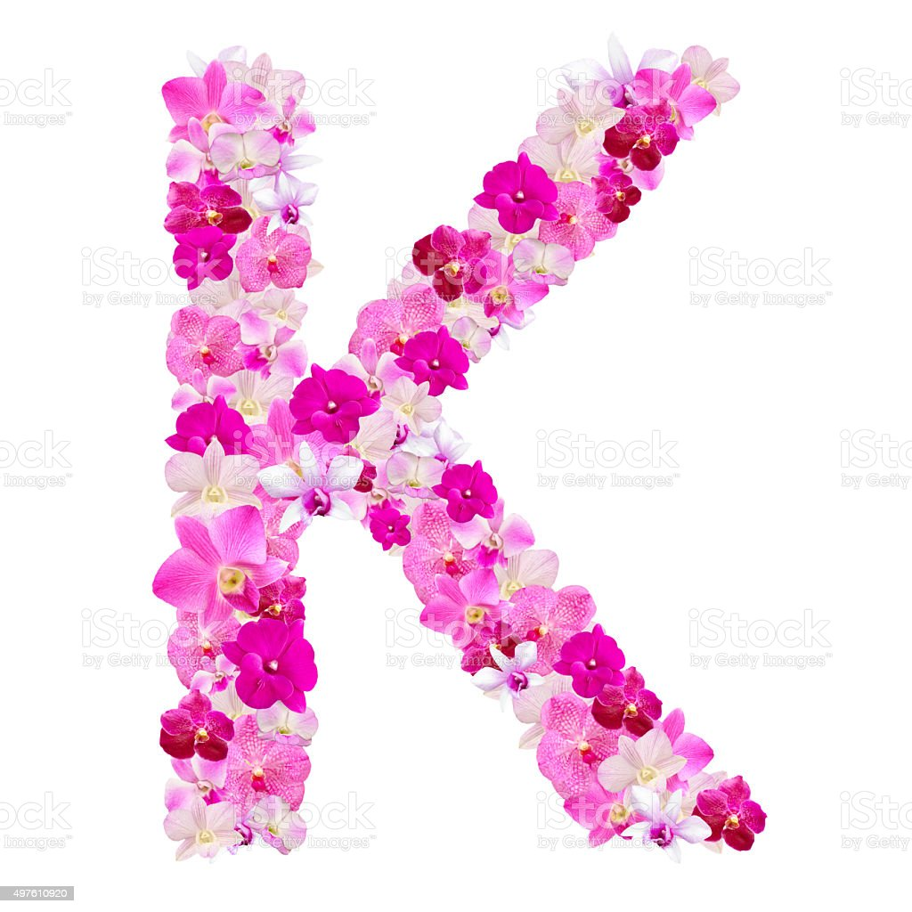 Letter K From Orchid Flowers Isolated On White Stock Photo & More ...