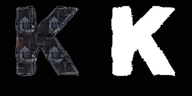 Letter K from the set of technological alphabet font. 4000 px RGB + 4000 px Alpha, 3D render k icon stock pictures, royalty-free photos & images