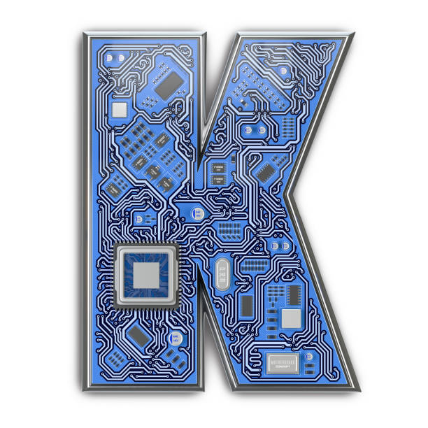 Letter K in form of circuit board. Digital hi-tech letter isolated on white. Letter K in form of circuit board. Digital hi-tech letter isolated on white. 3d illustration k icon stock pictures, royalty-free photos & images