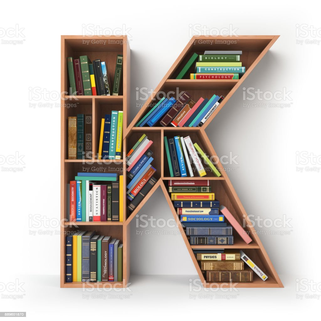 Letter K in the form of shelves with books isolated on white. stock photo