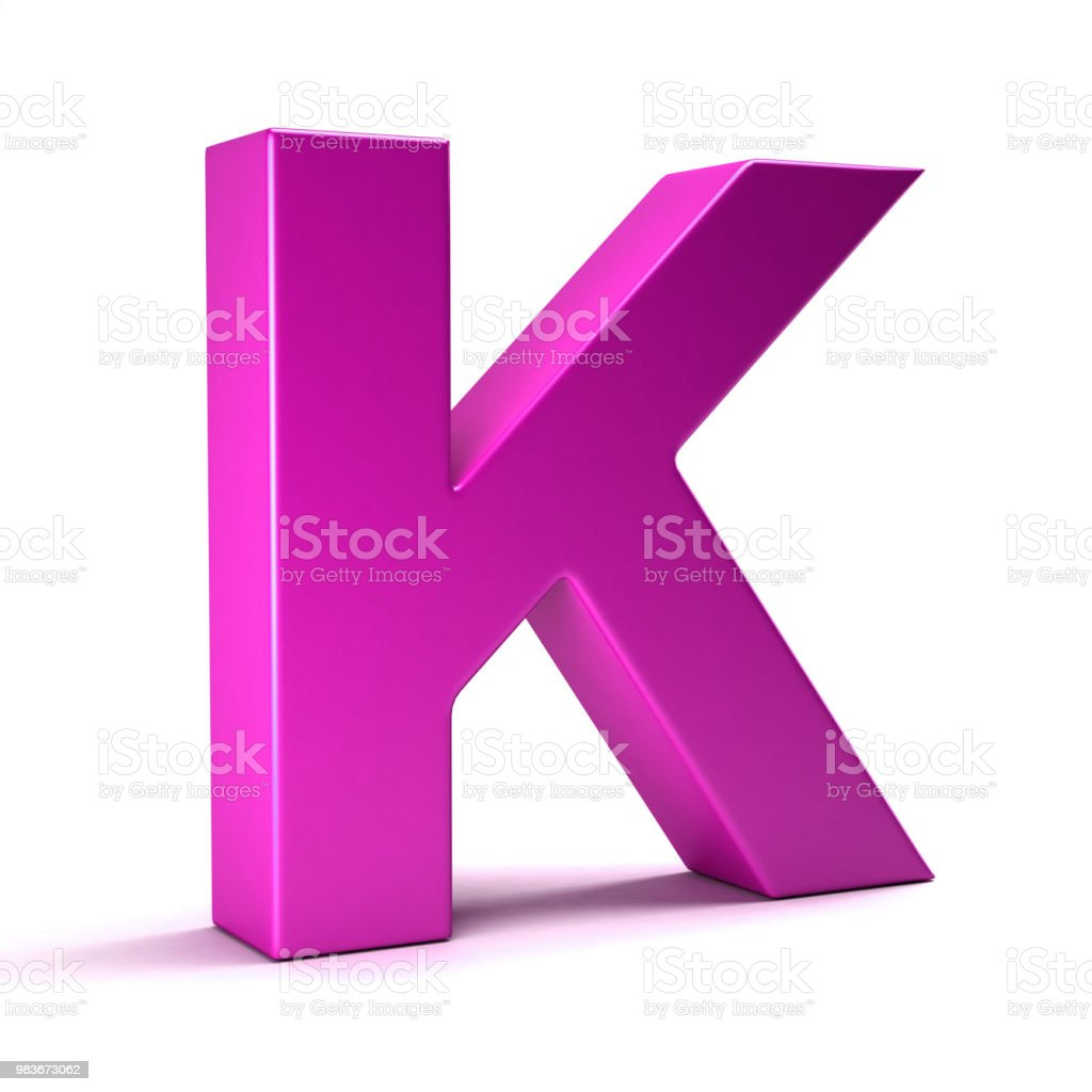 Letter K Initial Girl Pink Color 3d Render Illustration Stock Photo ...