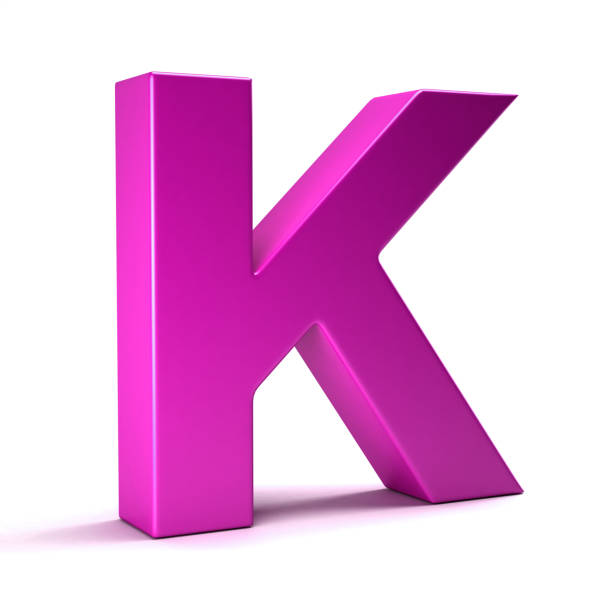 Letter K Initial Girl Pink color. 3D Render Illustration K Letter initial pink color for Girl Names k icon stock pictures, royalty-free photos & images