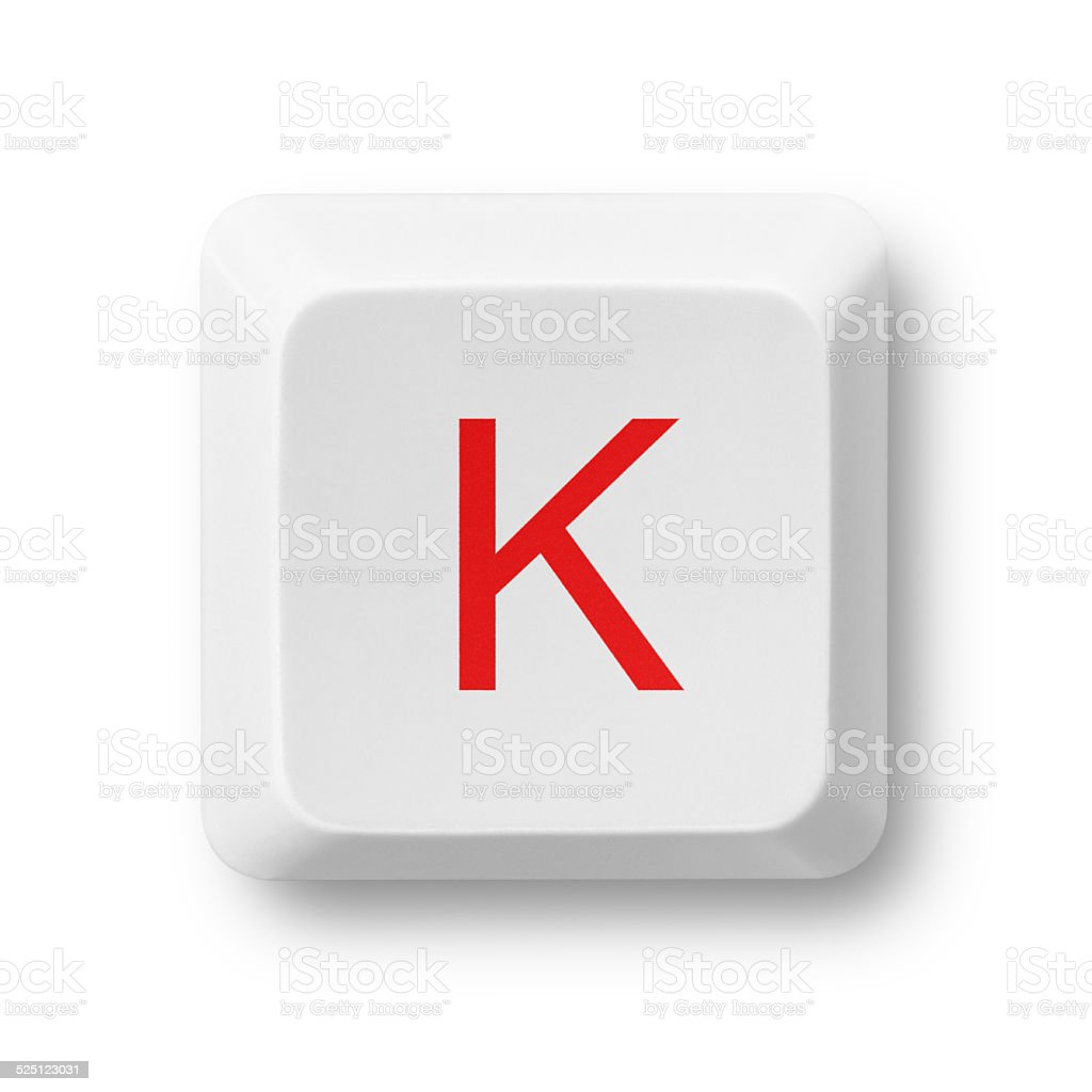 Letter K on a computer key isolated on white stock photo