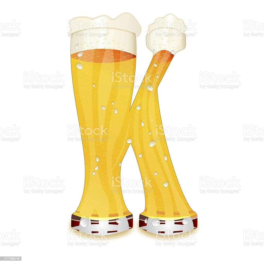 BEER ALPHABET letter K Very detailed illustration of a Beer Alphabet capital or uppercase font on white background showing a filled crystal glass with the letter K shape and some foam. Drops, pearls, bubbles. Advertisement Stock Photo