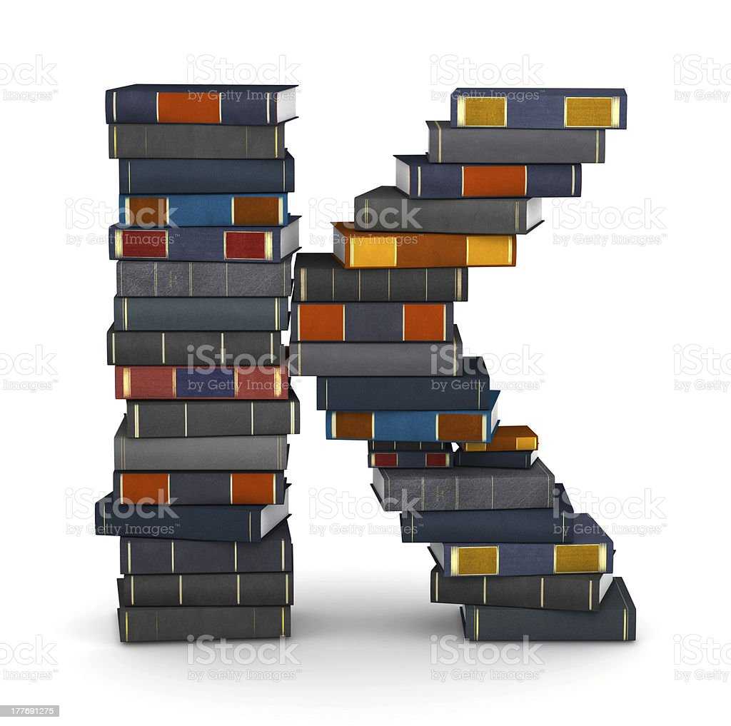 Letter K, stacked from books royalty-free stock photo