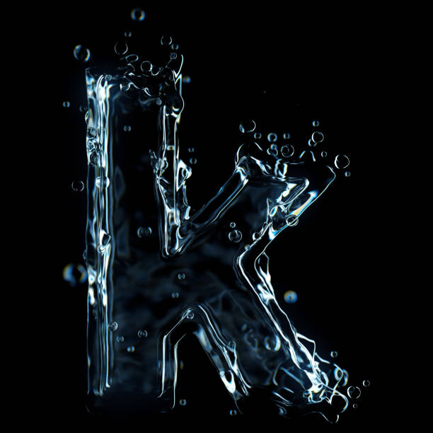 Letter k water splash isolated on black background Letter k water splash isolated on black background. High quality 3D simulation and render. k icon stock pictures, royalty-free photos & images
