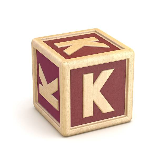 Letter K wooden alphabet blocks font rotated. 3D Letter K wooden alphabet blocks font rotated. 3D render illustration isolated on white background k icon stock pictures, royalty-free photos & images